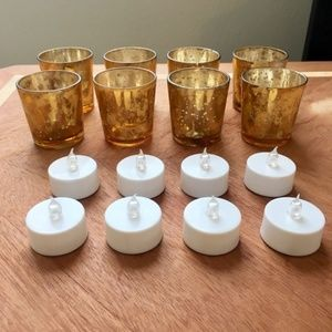 Antique Gold Glass Votive Candle Holders w/ Lights